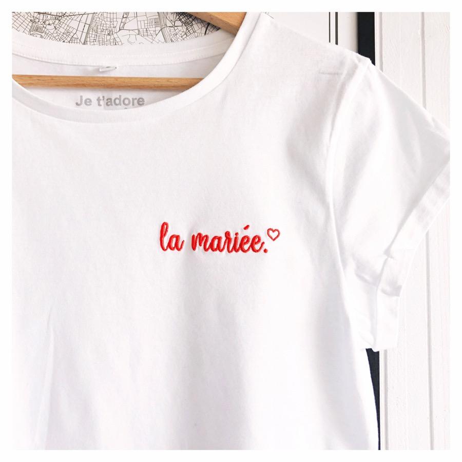 tee-shirt evjf brodé la mariée - tee-shirt evjf